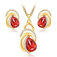 Altın Kaplama 18K Takı Setleri Moda Kırmızı Taşlı Kolye ve Küpe Nişan Düğün Gelin İnci Takı Seti