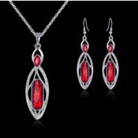 Kırmızı Kolye ve Küpe Gümüş Kaplama Sevgiliye Hediye Uzun Küpe Kolye Set