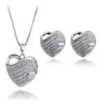 Kalp Kolye ve Küpe Gümüş Kaplama Romantik Hediyeler