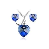 Mavi Kalpli Moda Takı Setleri Sevgililer Günü Hediyeleri Kolye ve Küpe