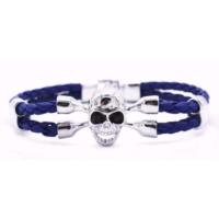 Myfavori Moda Bileklikler Mavi Örgülü Deri Halat Gümüş Rengi Kurufa Bileklik