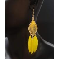 Myfavori Osmanlı Motifli Sarı Doğal Tüylü Küpe