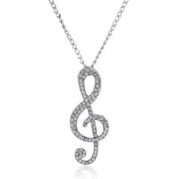 Myfavori Moda Kristal Taşlı Müzik Sembol Uzun Zincir Kolye Takı Modelleri Gümüş Rengi