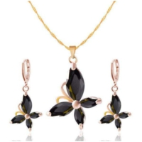 Myfavori Yeni Tasarım Siyah Kristal Küpe Ve Kolye Altın Kaplama Moda Takı Setleri Romantik Hediyeler