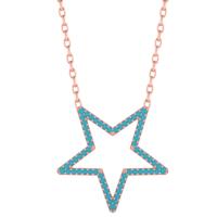 Diamood Jewelry Gümüş Firuze Taşlı Yıldız Kolye