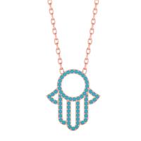 Diamood Jewelry Gümüş Firuze Taşlı Fatma Ana Eli Kolye