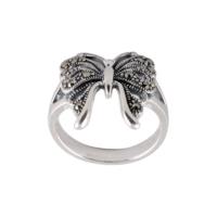 Akyüz Gümüş Kelebek İşlemeli Markazit Gümüş Yüzük