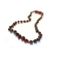 Kehribar Sepeti Vişne Rengi Kehribar Bebek Diş Kolyesi (36 Ay Sonrası / 36 cm)