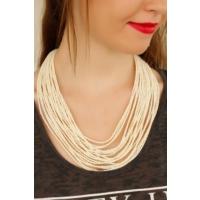 Çınar E-Ticaret Krem Renk Taş Tasarımlı Kadın Kolye