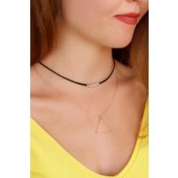 Çınar E-Ticaret Siyah Deri Ve Sarı Renk Metal Zincirli Kadın Kolye