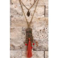 Çınar E-Ticaret Eskitme Metal Zincir Kırmızı Püskül Detaylı Uzun Kadın Kolye