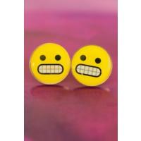 Çınar E-Ticaret Emoji Tasarımlı Sinirli Sarı Yuvarlak Yüz İfadeli Kadın Küpe Modeli