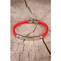 Çınar E-Ticaret Kırmızı Deri Tasarım Çelik Aksesuar Detaylı Erkek Bileklik