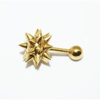 Cadının Dükkanı 316L Cerrahi Çelik Spike Top Sarı Kulak Piercing