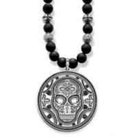 Modakedi Gümüş Kaplama Erkek Obsidiyen Yuvarlak Kurukafa Kolye