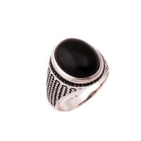 Sümer Telkari Oniks Taşlı Tasarım Gümüş Yüzük 624