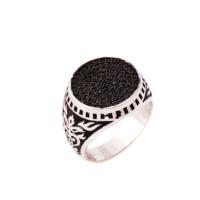Sümer Telkari Siyah Safir Taşlı Tasarım Gümüş Yüzük 636