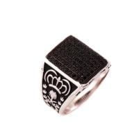 Sümer Telkari Siyah Safir Taşlı Tasarım Gümüş Yüzük 642