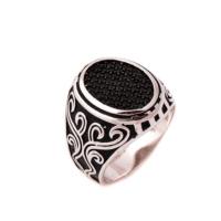 Sümer Telkari Siyah Safir Taşlı Tasarım Gümüş Yüzük 643