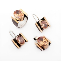Sümer Telkari Topaz Taşlı Çekiç Dövme El Yapımı Set 888