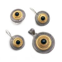 Sümer Telkari Altın Yaldızlı Oltu Taşlı Gümüş Set 957