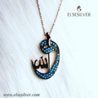 Else Silver Firuze Taş Allah Yazılı Kolye