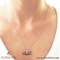 Else Silver Muhabbet Kuşları Gümüş Kolye