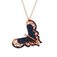 Else Silver Mavi Taşlı Büyük Kelebek Kolye