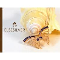 Else Silver Mavi Taşlı Kelebek Kolye