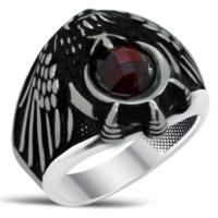 Tesbihci Dede Kırmızı Zirkon Taşlı Kartal Pençeli Ayyıldız Gümüş Yüzük