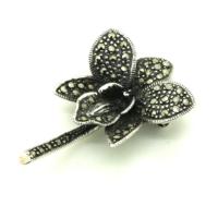 Tesbihci Dede Markazit Kelebek Tasarım Gümüş Broş Yaka İğnesi