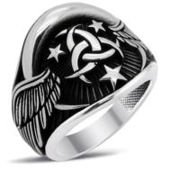 Tesbihci Dede Özel Tasarım Teşkilatı Mahsusa Gümüş Erkek Yüzük