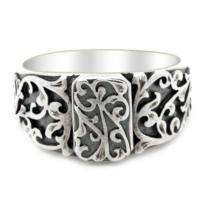 Tesbihci Dede Erzurum El Kalem İşi Gümüş Erkek Yüzüğü