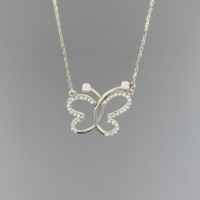 Tuğrul Kuyumculuk Beyaz Altın Taşlı Kelebek Kolye