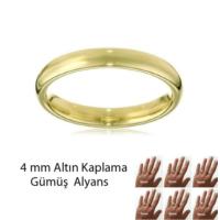 eJOYA Altın Kaplama Gümüş Alyans 4 mm