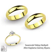 eJOYA Altın Kaplama Gümüş Alyanlar - Hediyeli