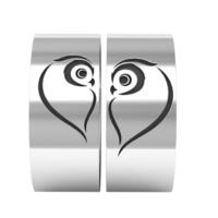 Ashyl Baykuş Çift Alyans, Baykuş Gümüş Alyans, Baykuş Kalp Alyans