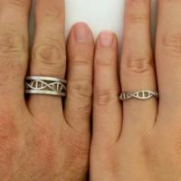 Ashyl DNA Gümüş Alyans, DNA Çift Alyans, DNA Evlilik Alyansı, DNA Mat Yüzük