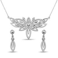 Argentum Concept Zirkon Taşlı Gümüş Çiçek Set