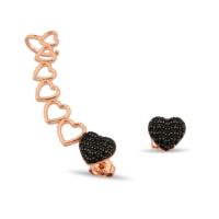 Argentum Concept Siyah Taşlı Kalp Motifli Gümüş Küpe