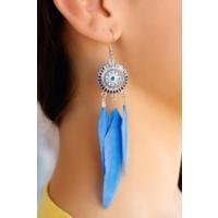 Vidanya Mavi Renk Şık Tasarımlı Bayan Tüy Küpe