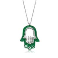 VAOOV 925 Ayar Gümüş Yeşil Mineli Fatma Ana Eli Kolye