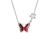 VAOOV 925 Ayar Gümüş Kırmızı Mineli Kelebek Kolye