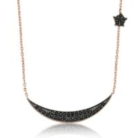 VAOOV 925 Ayar Gümüş Ay Yıldız Kolye