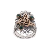 Akyüz Gümüş Zümrüt Taşlı Osmanlı Tuğralı Telkari Gümüş Yüzük