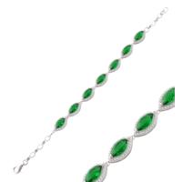 Akyüz Gümüş Yeşil Zirkon Taşlı Gümüş Bileklik