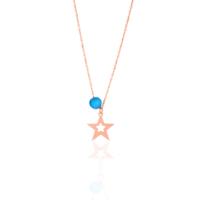 Azuris Silver Mavi Akik Taşlı Yıldız Kolye