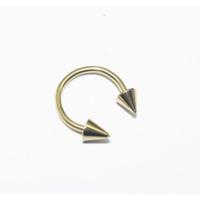 Cadının Dükkanı 316L Cerrahi Çelik Sarı Spike Yarım Ay Piercing (10 mm)