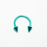 Cadının Dükkanı 316 L Cerrahi Çelik Yeşil Spike Yarım Ay Piercing (8 mm)