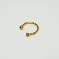 Cadının Dükkanı 316L Cerrahi Çelik Toplu Sarı Yarım Ay Piercing (10 mm)
